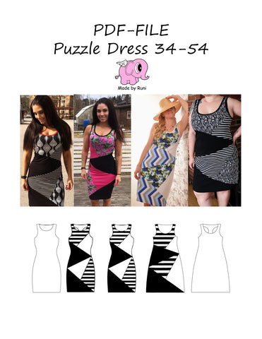 PDF-mønster/pattern: Puzzle Dress adult size 34-54 (US 4-24)