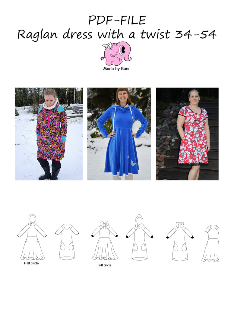 PDF-mønster/pattern: Raglan Dress With a Twist adult size 34-54 (US 4-24)
