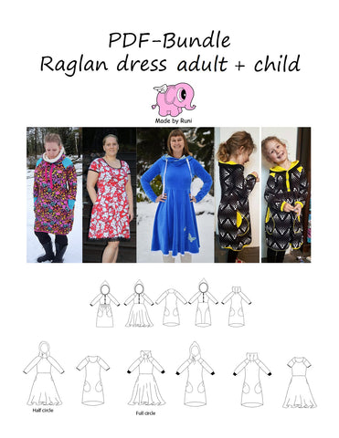 PDF-pakke/bundle: Raglan dress child + adult