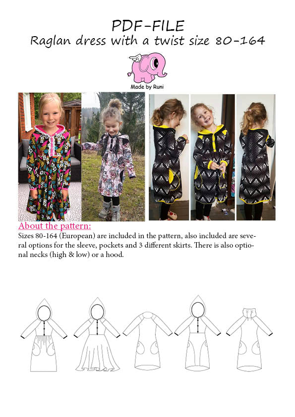PDF-mønster/pattern: Raglan Dress With a Twist child size 80-164 (US 12m-14y)