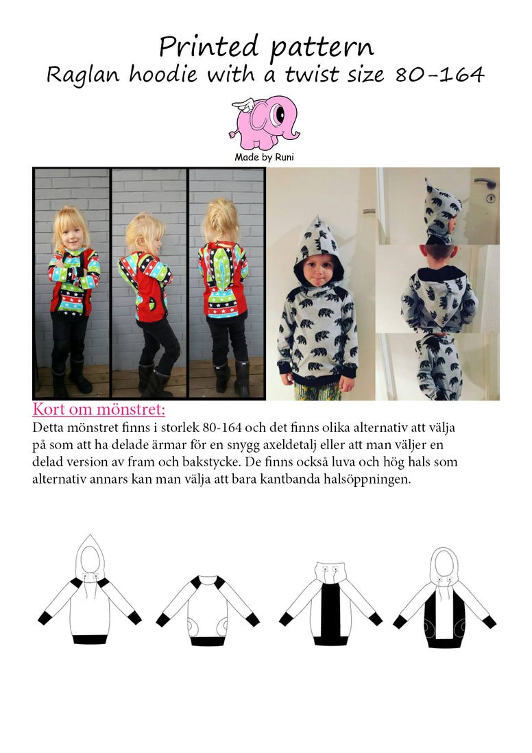 Mønsterark/Printed pattern: Raglan Hoodie With a Twist child size 80-164 (US 12m-14y)