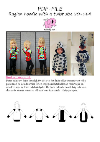 PDF-mønster/pattern: Raglan Hoodie With a Twist child size 80-164 (US 12m-14y)