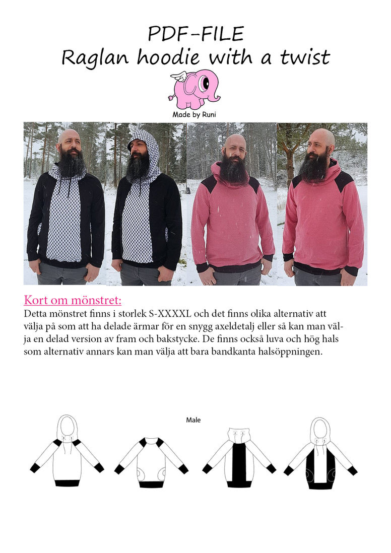 PDF-mønster/pattern: Raglan Hoodie With a Twist adult straight cut size S-XXXXL