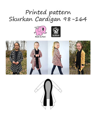 Mønsterark/printed pattern:  Skurkan Cardigan child size 98-164 (US 3T-14y)