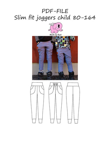 PDF-mønster/pattern: Slim fit joggers child 80-164