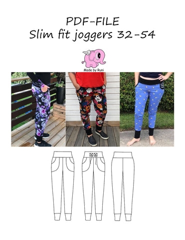 PDF-mønster/pattern: Slim fit joggers adult size 32-54 (US 2-24)