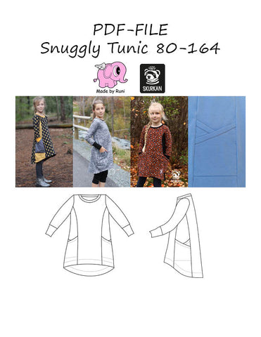 PDF-mønster/pattern: Snuggly Tunic 80-164 (US 12m-14y)