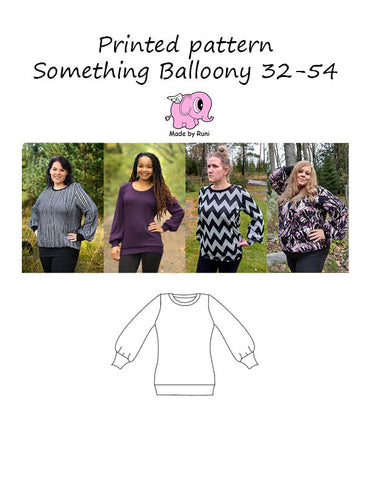 Mønsterark/printed pattern: Something Balloony adult size 32-54 (2-24)