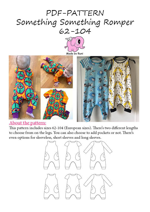 PDF-mønster/pattern: Something Something Romper child size 62-104 (2m- 4y)