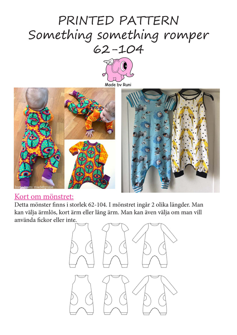 Mønsterark/printed pattern: Something Something Romper child size 62-104 (2m- 4y)