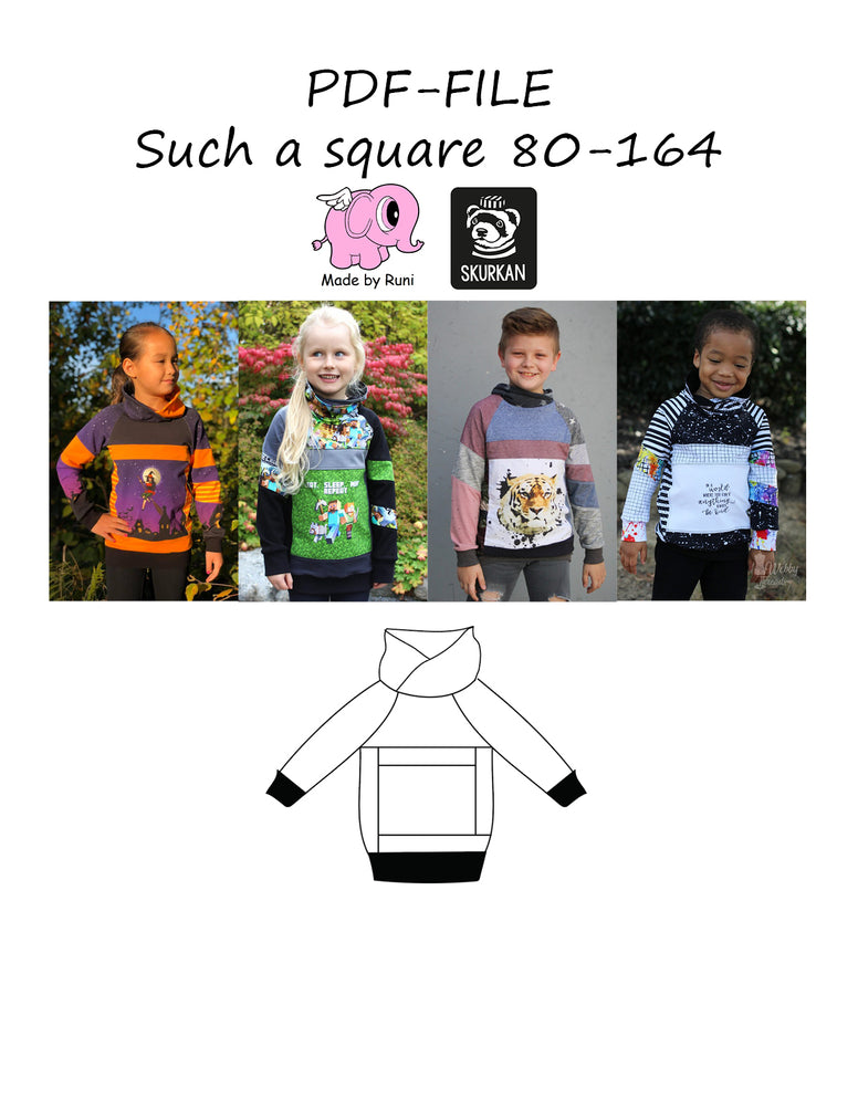 PDF-mønster/pattern: Such a square 80-164 (US 12m-14y)