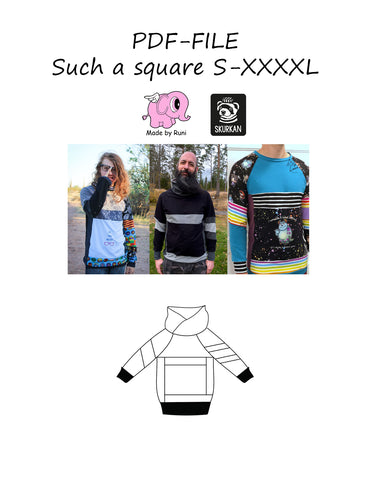 PDF-mønster/pattern: Such a square straight cut S-XXXXL
