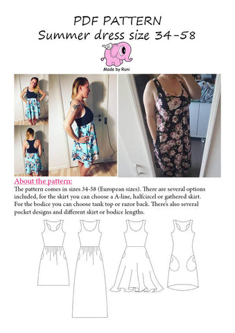 PDF-mønster/pattern: Summer Dress adult size 34-58 (US 4-28)