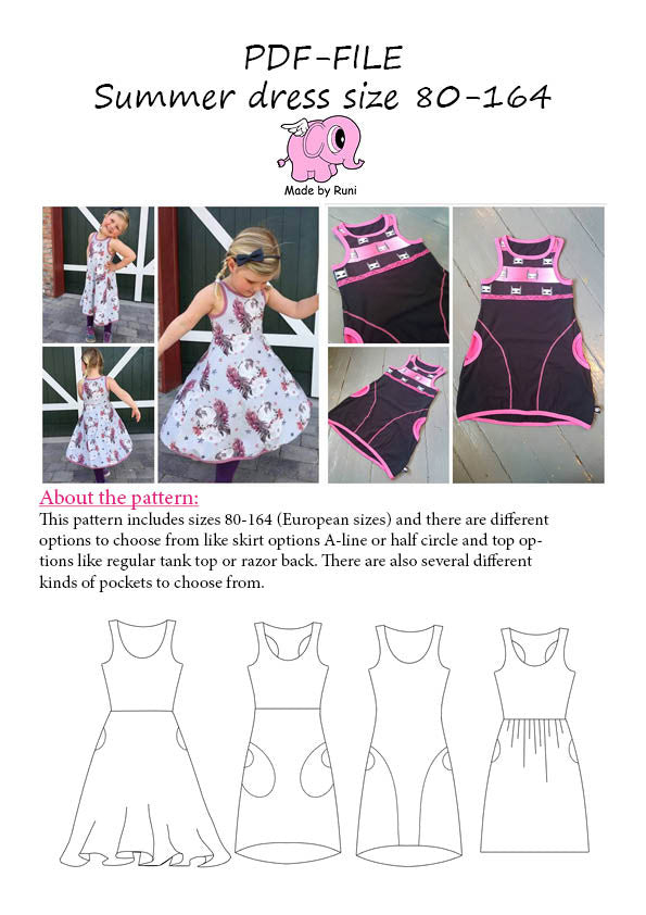 PDF-mønster/pattern: Summer Dress child size 80-164 (US 12m-14y)