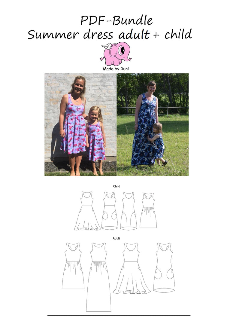 PDF-pakke/bundle: Summer dress child + women