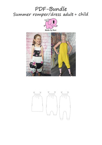 PDF-pakke/bundle: Summer romper dress child + adult