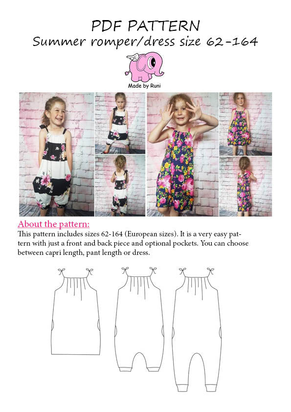 PDF-mønster/pattern: Summer Romper/Dress child size 62-164 (US 2m-14y)