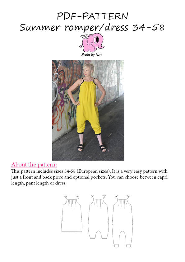 PDF-mønster/pattern: Summer Romper/Dress adult 34-58 (US 4-28)