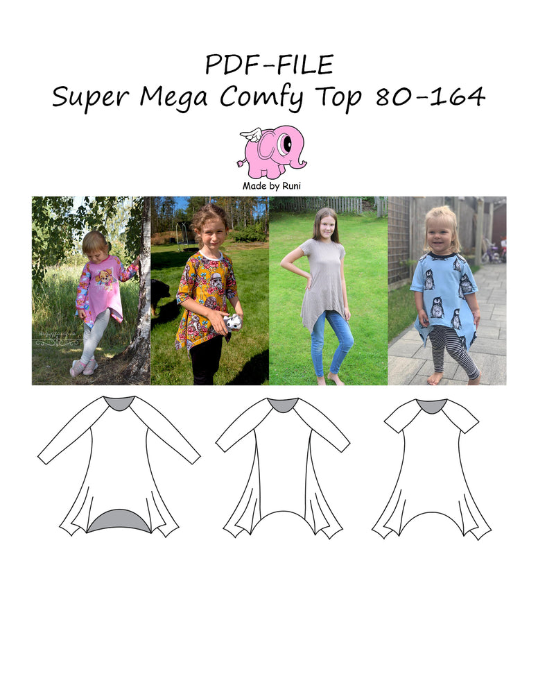 PDF-mønster/pattern: Super Mega Comfy Top 80-164
