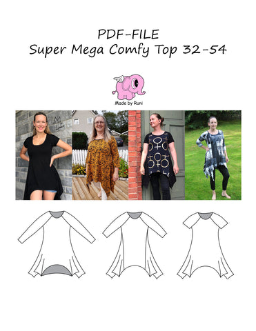 PDF-mønster/pattern: Super Mega Comfy Top 32-54 (US 2-24)