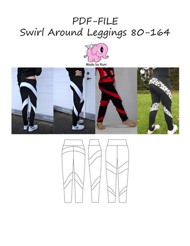 PDF-mønster/pattern: Swirl around leggings 80-164 (US 12m-14y)