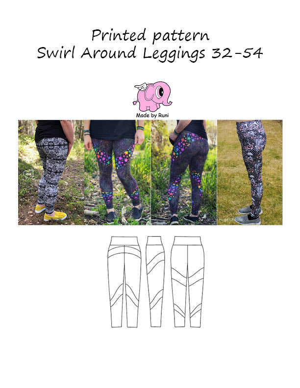 Mønsterark/printed pattern: Swirl around leggings adult size 32-54 (US 2-24)