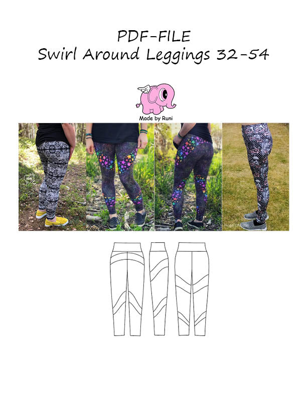 PDF-mønster/pattern: Swirl around leggings adult size 32-54 (US 2-24)
