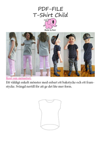 PDF-mønster/pattern: T-shirt child size 80-164 (US 12m-14y)