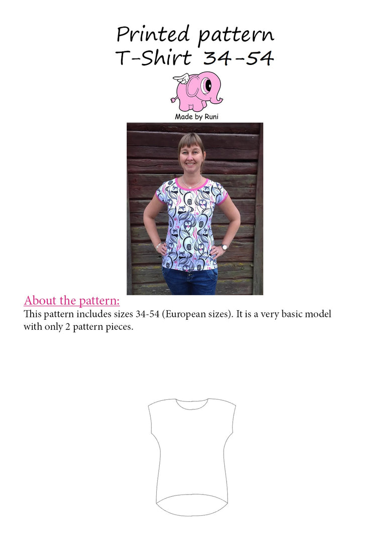 Mønsterark/printed pattern: T-shirt woman size 34-54 (US 4-24)