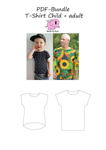 PDF-Bundle: T-shirt barn+herr /child+man