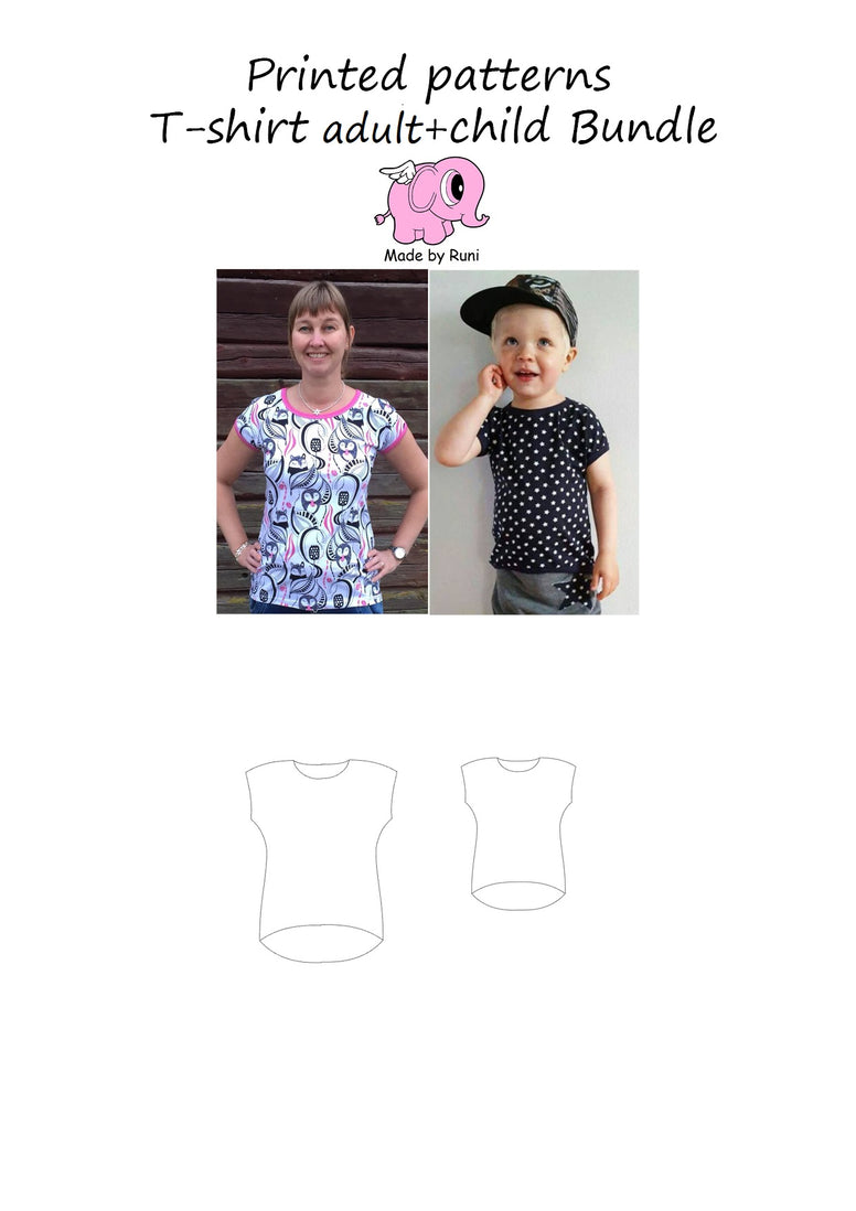 Mønsterpakke/printed pattern bundle: T-shirt child + adult fitted