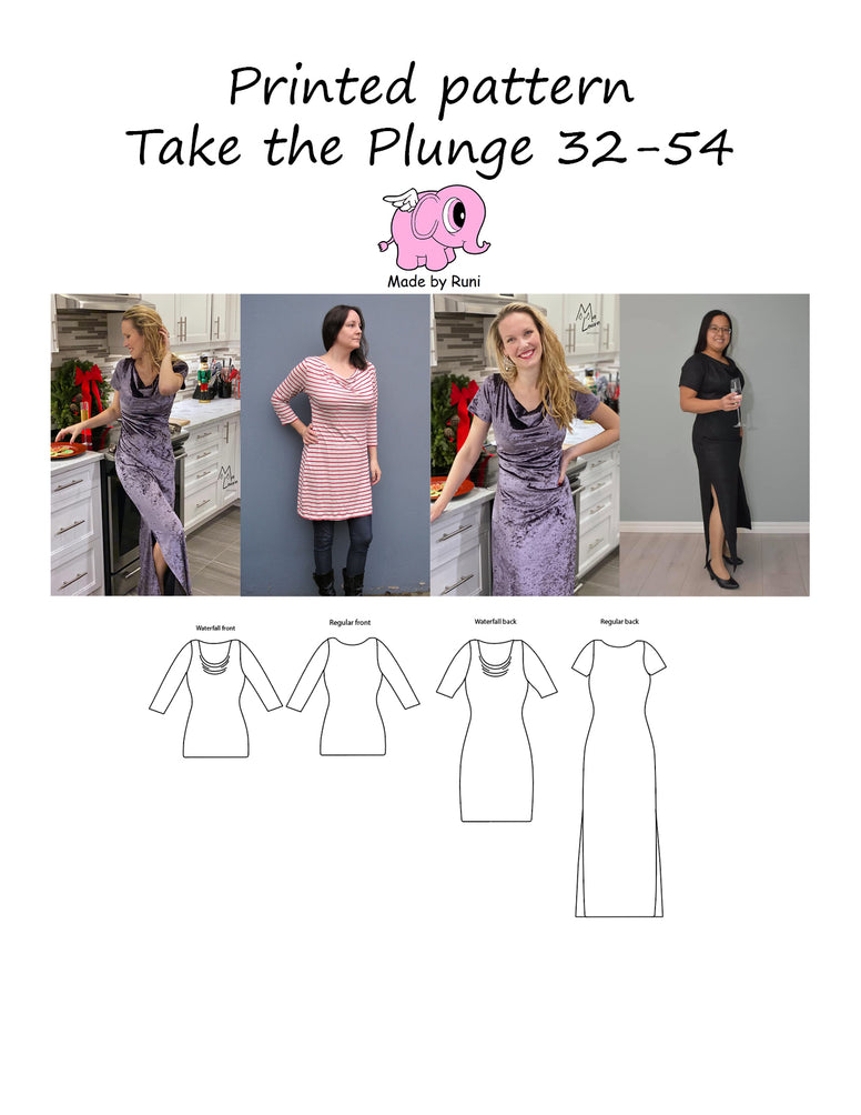 Mønsterark/printed pattern: Take the plunge 32-54 (US 2-24)