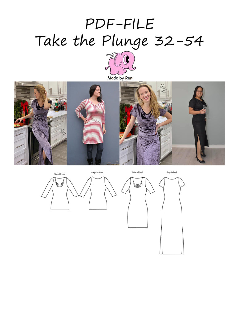 PDF-mønster/pattern: Take the plunge 32-54 (US 2-24)