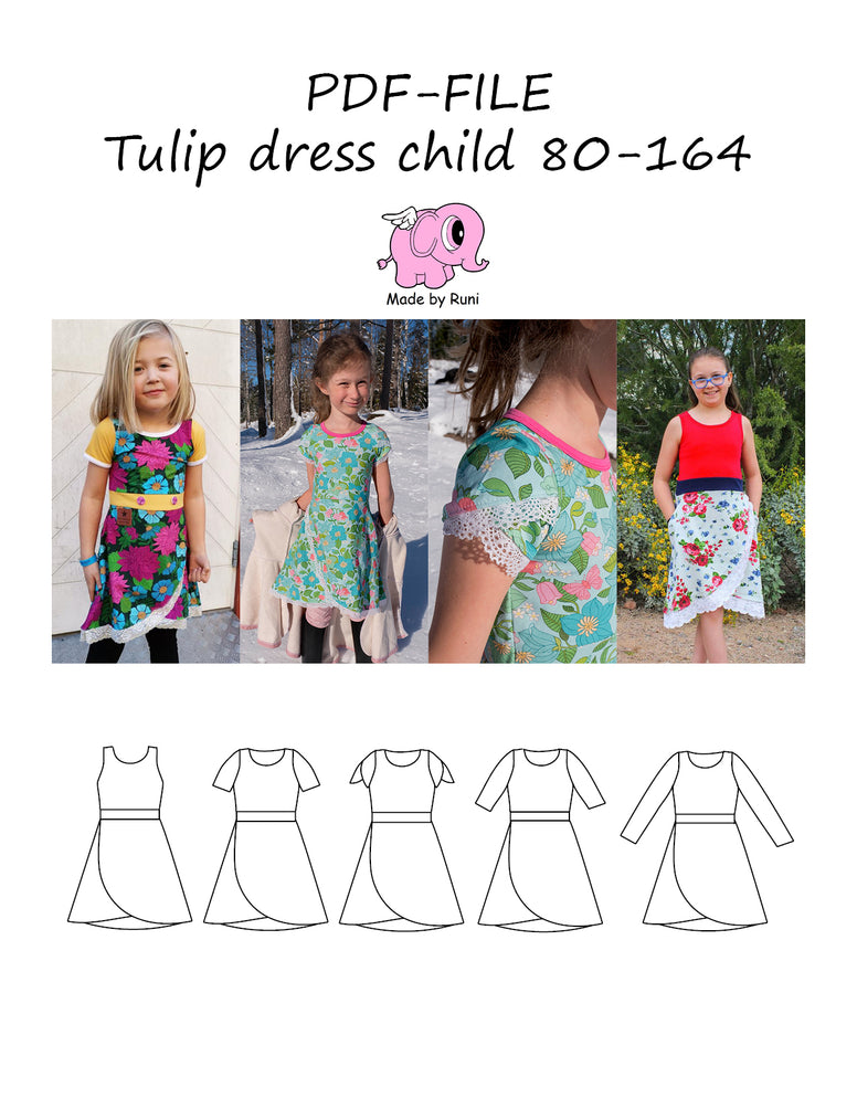 PDF-mønster/pattern: Tulip dress child 80-164
