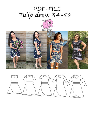 PDF-mønster/pattern: Tulip dress adult 34-58