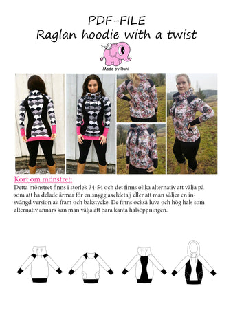 PDF-mønster/pattern: Raglan Hoodie With a Twist adult size 34-54 (US 4-24)
