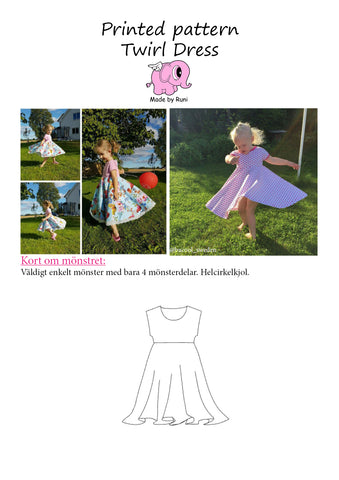 Mønsterark/Printed pattern: Snurrklänning/Twirl dress child size 80-140 (US 12m-10y)