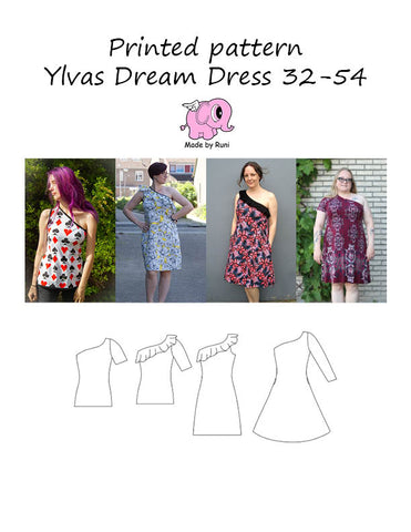 Mønsterark/printed pattern: Ylvas dream dress adult size 32-54 (2-24)