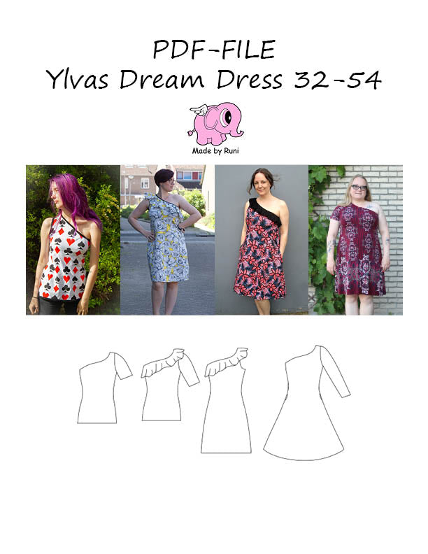 PDF-mønster/pattern: Ylvas dream dress adult size 32-54 (2-24)
