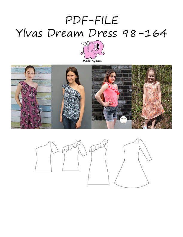PDF-mønster/pattern: Ylvas dream dress child size 98-164 (US 3T-14y)