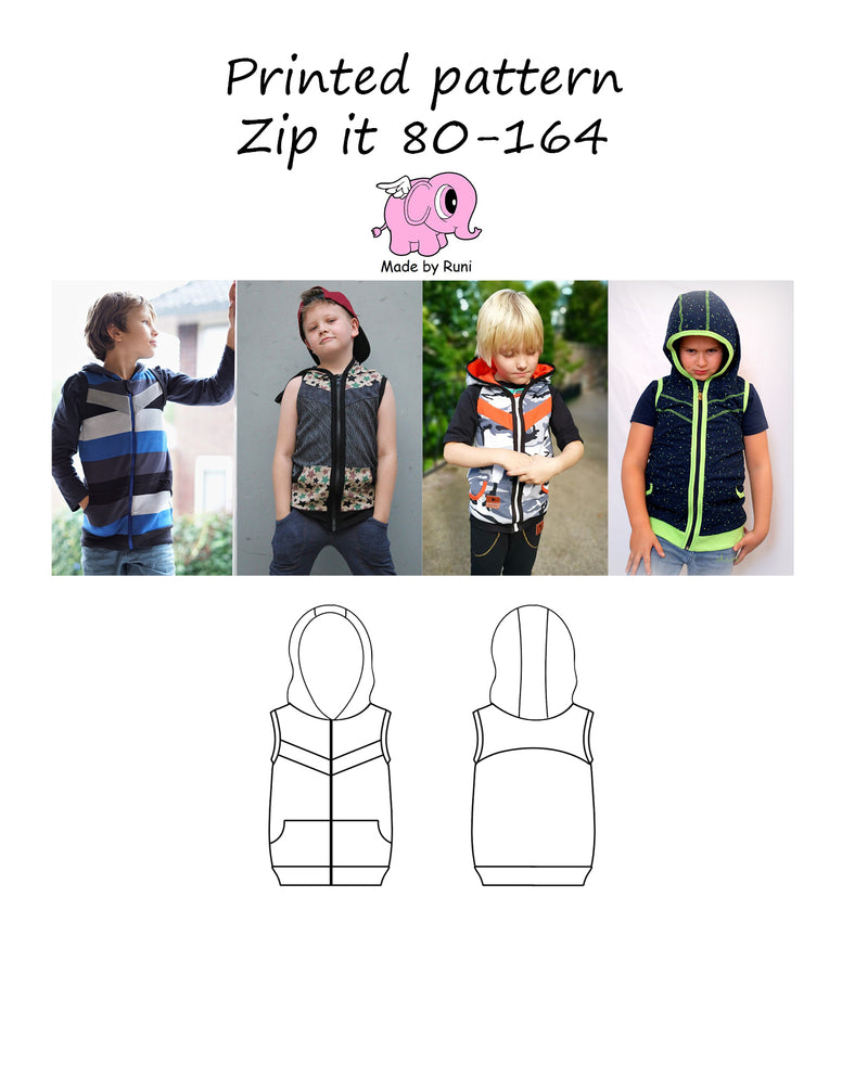 Mønsterark/printed pattern: Zip it 80-164 (US 12m-14y)