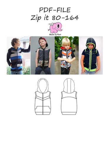 PDF-mønster/pattern: Zip it 80-164 (US 12m-14y)