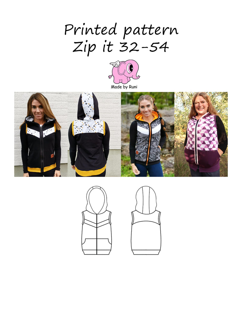 Mønsterark/printed pattern: Zip it 32-54 (US 2-24)