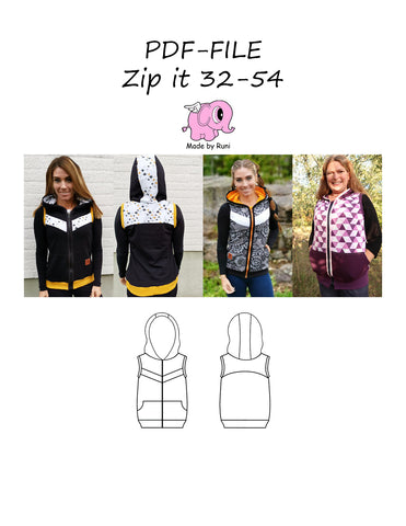 PDF-mønster/pattern: Zip it 32-54 (US 2-24)