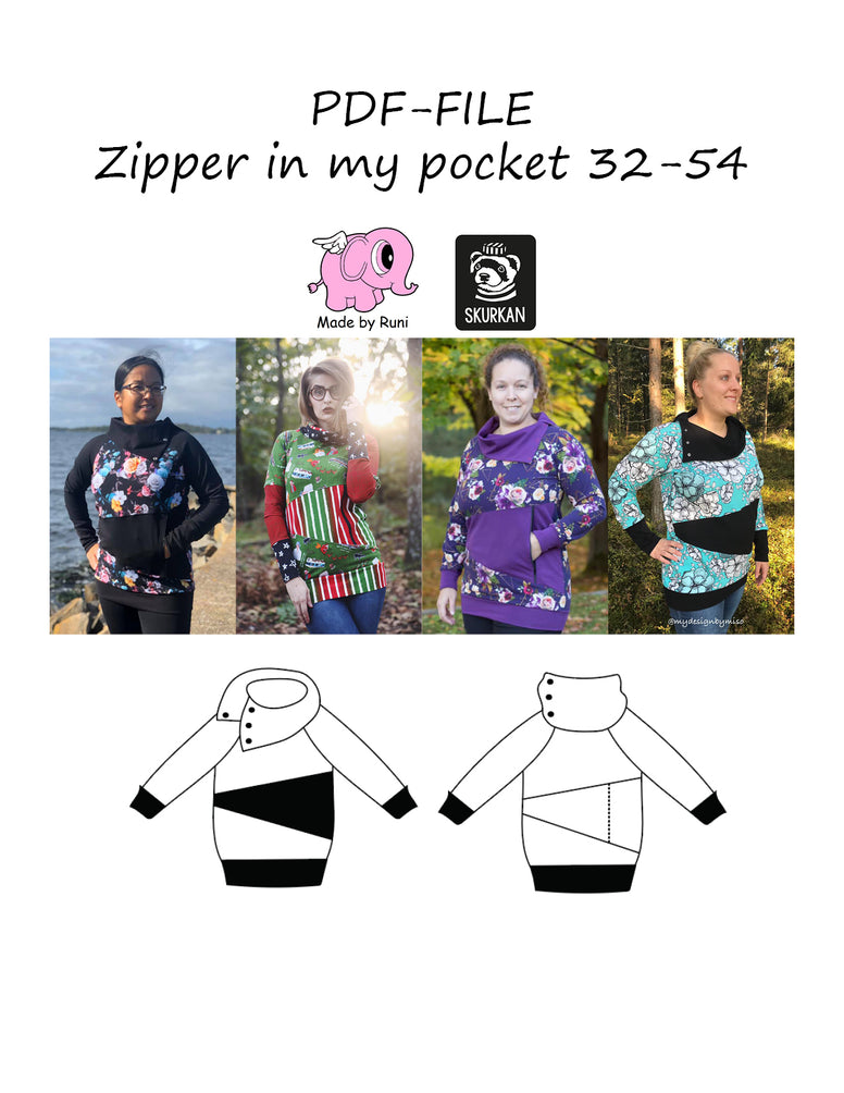 PDF-mønster/pattern: Zipper in my pocket curved fit 32-54 (US 2-24)