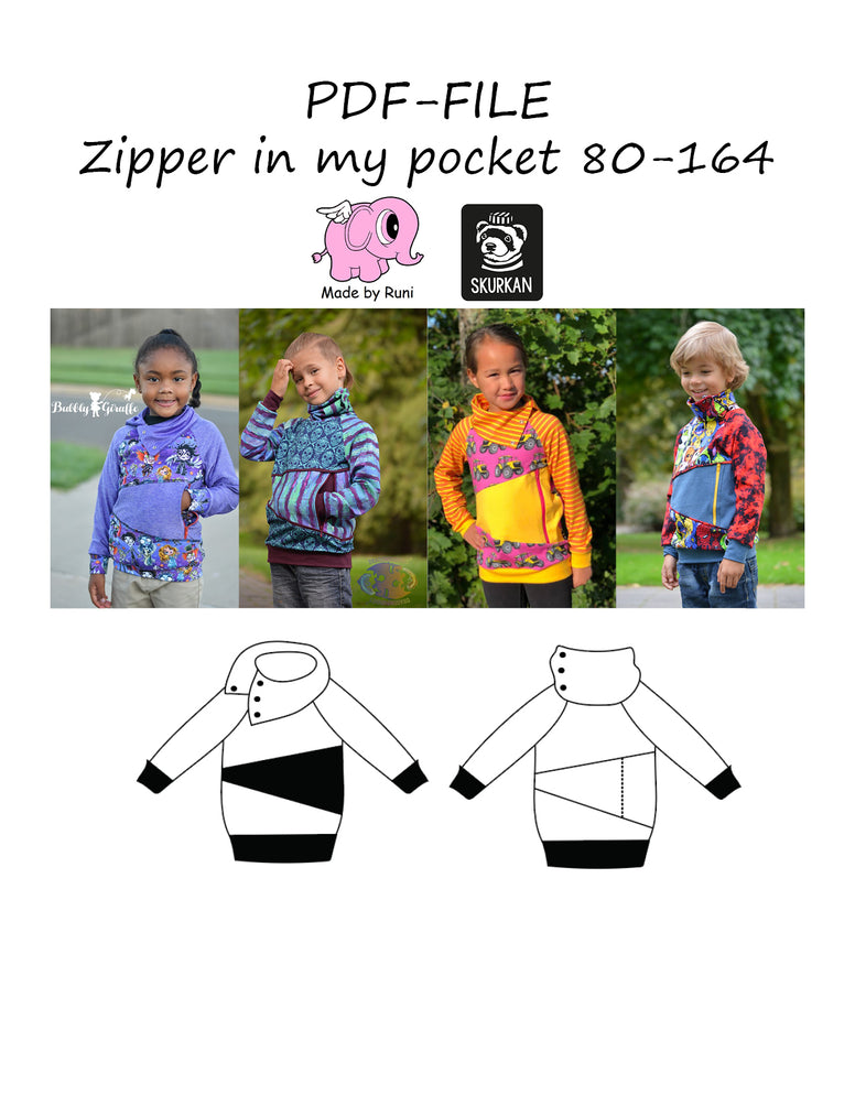 PDF-mønster/pattern: Zipper in my pocket 80-164 (US 12m-14y)
