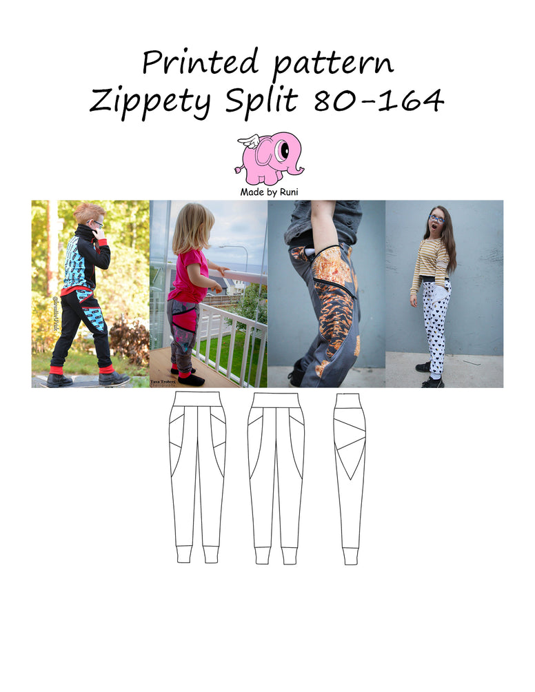 Mønsterark/printed pattern:  Zippety Split 80-164 (US 12m-14y)