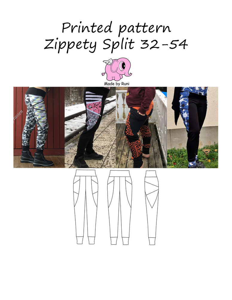 Mønsterark/printed pattern: Zippety Split 32-54 (US 2-24)