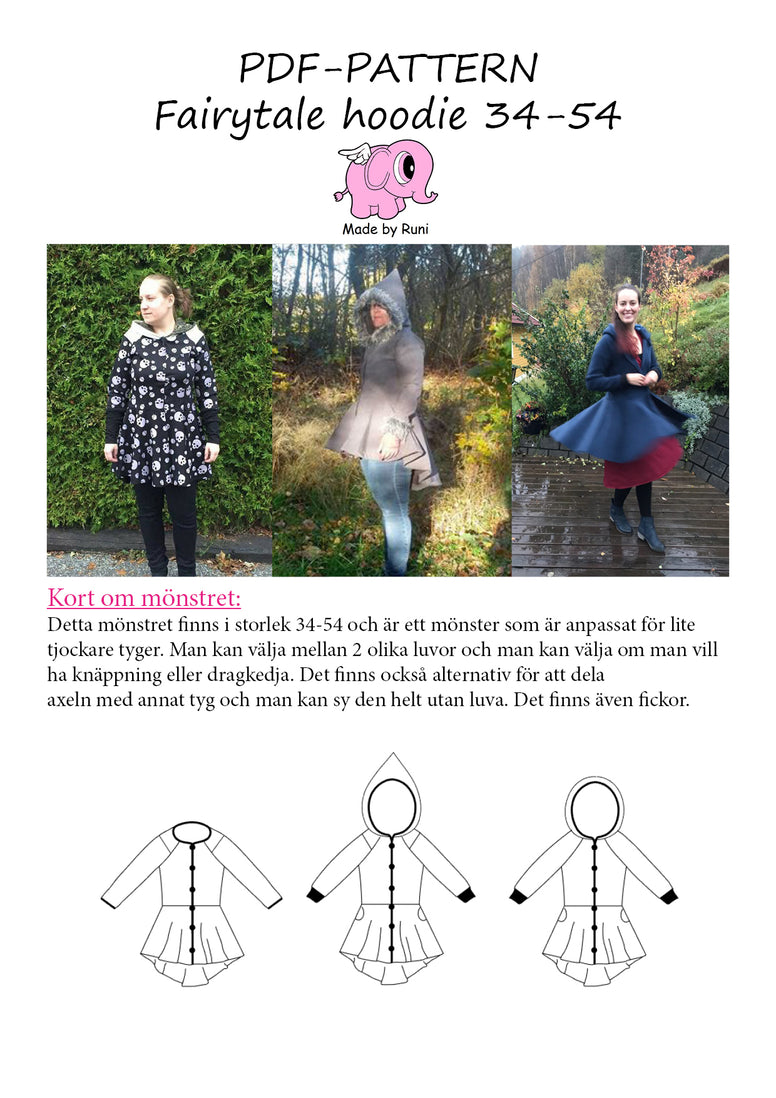 PDF-mønster/pattern: Fairytale Hoodie woman size 34-54 (US 4-24)