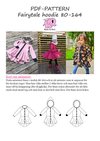 PDF-mønster/pattern: Fairytale Hoodie child size 80-164 (US 12m-14y)